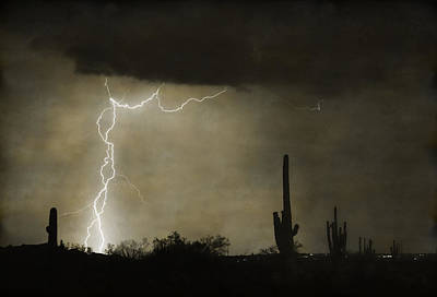 Twisted Desert Lightning Storm Poster