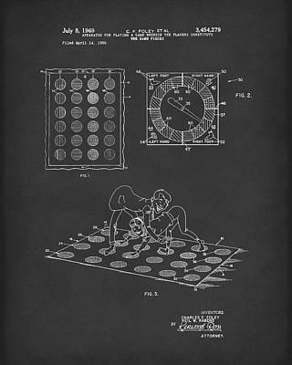Twisting Game 1969 Patent Art Black Poster by Prior Art Design