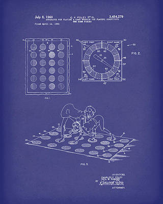 Twisting Game 1969 Patent Art Blue Poster by Prior Art Design