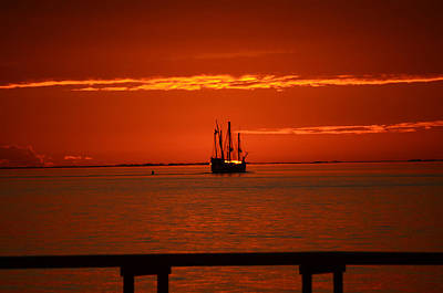Poster featuring the photograph Two 3-masted Schooners Sail Off Into The Santa Rosa Sound Sunset by Jeff at JSJ Photography