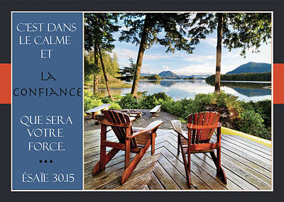 Two Adirondack Chairs On A Deck Looking Poster