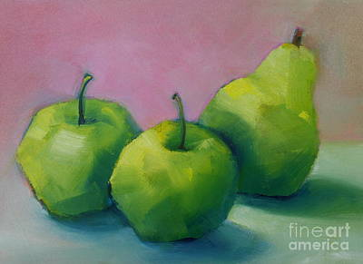 Poster featuring the painting Two Apples And One Pear by Michelle Abrams