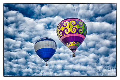 Two Balloons And Clouds Framed Poster by Mimi Ditchie