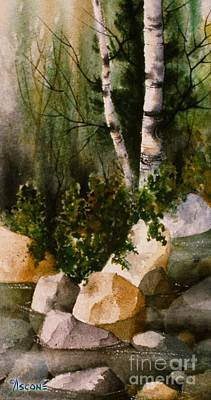 Two Birch By Rocky Stream Poster by Teresa Ascone