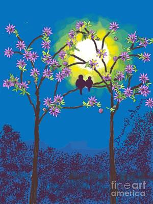 Two Birds Roosting In A Sun Set Poster