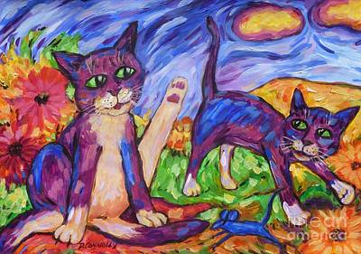 Poster featuring the painting Two Blue Cats Among Daisies by Dianne  Connolly
