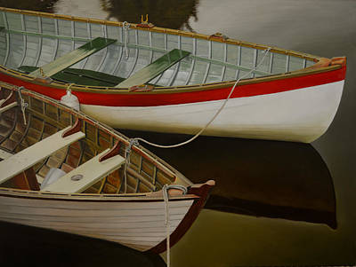 Poster featuring the painting Two Boats by Thu Nguyen