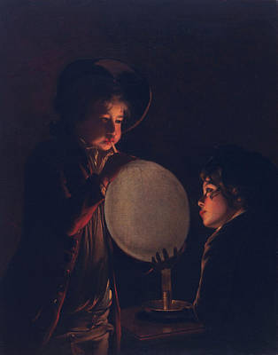 Two Boys By Candlelight, Blowing Poster by Joseph Wright of Derby