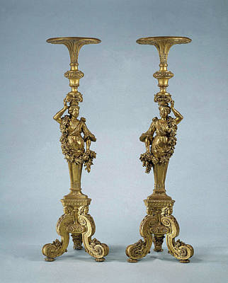 Two Candle Stands Torchères, Anonymous Poster
