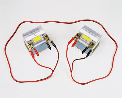 Two Car Batteries Attached By Jump Leads Poster