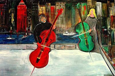 Two  Cello Players  Rooftop  Poster
