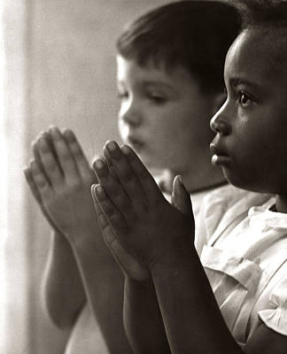 Two Children Praying In Sunday School Poster by H. Armstrong Roberts/ClassicStock