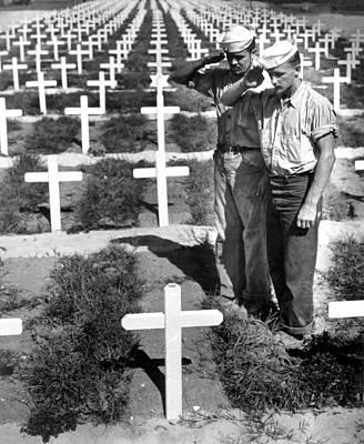 Two Coast Guardsmen Salute The Grave Poster