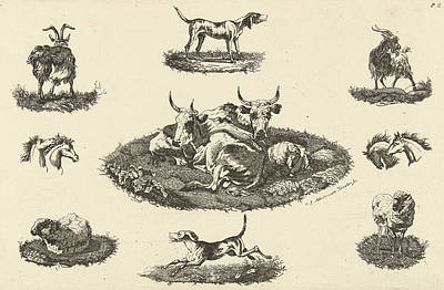 Two Cows, A Sheep And Other Animals, Christiaan Godfried Poster by Artokoloro