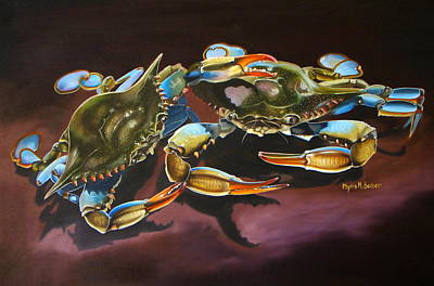 Poster featuring the painting Two Crabs by Phyllis Beiser