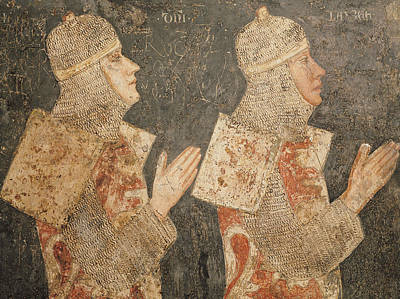 Two Crusaders Of The Minutolo Family, From The Cappella Minutolo Fresco Poster by Pietro Cavallini