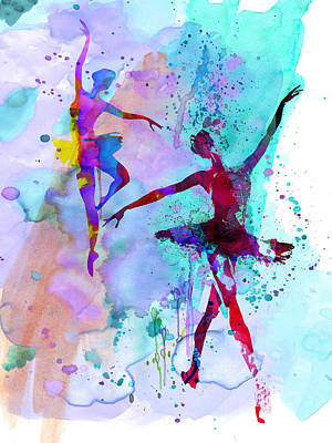 Two Dancing Ballerinas Watercolor 2 Poster by Naxart Studio