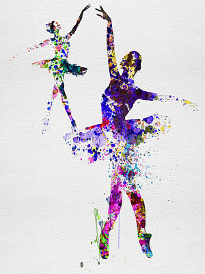 Two Dancing Ballerinas Watercolor 4 Poster by Naxart Studio