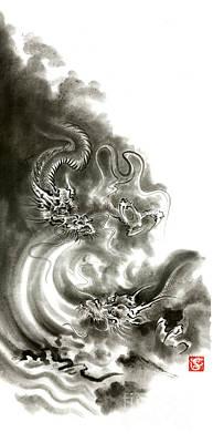 Two Dragons Gold Fantasy Dragon Design Sumi-e Ink Painting Dragon Art Poster by Mariusz Szmerdt