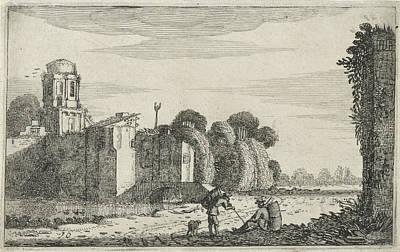 Two Figures At A Ruin At A Bridge, Jan Van De Velde II Poster