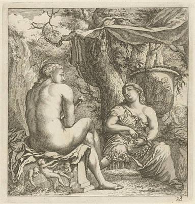 Two Figures In A Classical Landscape, Arnold Houbraken Poster by Arnold Houbraken