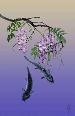 Two Fish Under A Wisteria Tree Poster by Matthew Schwartz