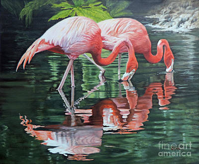 Two Flamingos Poster by Jimmie Bartlett