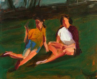 Two Girls, 2004 Oil On Linen Poster by Daniel Clarke
