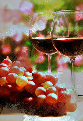 Two Glasses Of Wine With Grapes Poster by Elaine Plesser