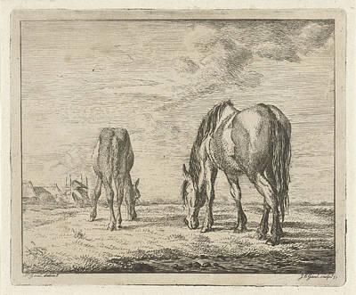 Two Grazing Horses, Jacobus Cornelis Gaal 1851 Poster