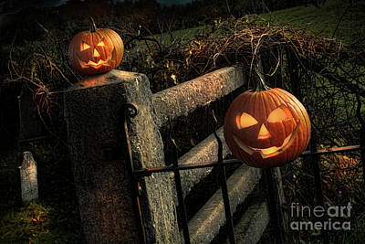 Two Halloween Pumpkins Sitting On Fence Poster