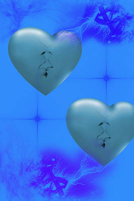 Poster featuring the digital art Two Hearts Together On Valentine's Day  by Angel Jesus De la Fuente