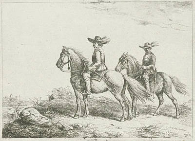 Two Horsemen On Reconnaissance, Print Maker Christiaan Poster