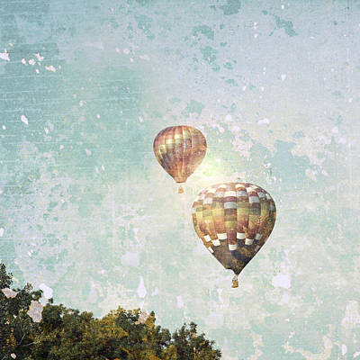 Poster featuring the photograph Two Hot Air Balloons by Brooke T Ryan