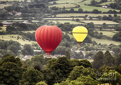 Two Hot Air Baloons Drifting Poster