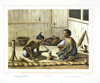 Two Indonesian People Smoking Opium Poster by British Library