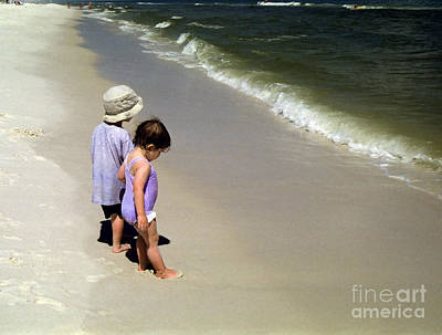 Two Kids At The Beach Poster