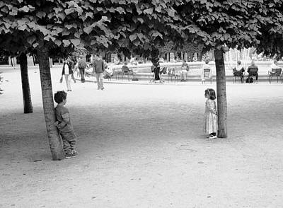 Two Kids In Paris Poster by Dave Beckerman