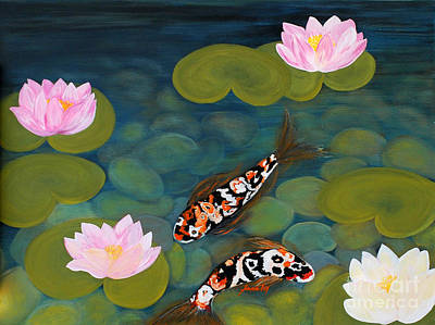 Two Koi Fish And Lotus Flowers Poster