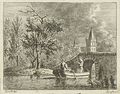 Two Men In A Rowing Boat Directly Behind A Stone Bridge Poster by Artokoloro