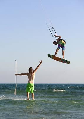 Two Men Off Valdevaqueros Beach Poster by Ben Welsh