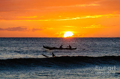 Two Men Paddling A Hawaiian Outrigger Canoe At Sunset On Maui Poster