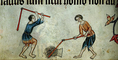 Two Men Threshing Sheaf Poster by British Library