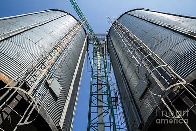 Two Metal Silo Agriculure Granary Poster
