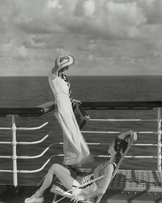Two Models On The Deck Of A Cruise Ship Poster by Edward Steichen