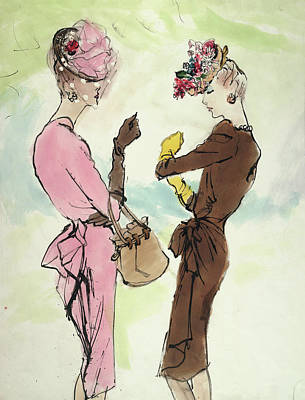 Two Models, Standing Face To Face, Wearing Bright Poster by Carl Eric Erickson