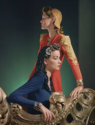 Two Models Wearing Evening Gowns Poster by Horst P. Horst