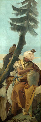 Two Orientals Seated Under A Tree Poster by Giovanni Battista Tiepolo
