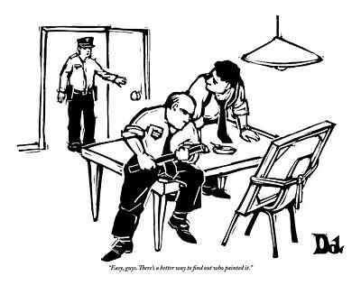 Two Policemen Interrogate A Painting Poster