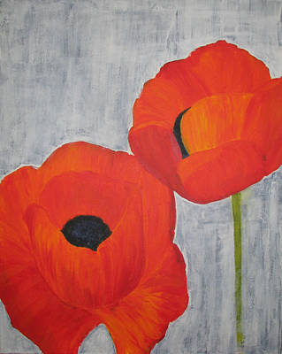 Two Poppies And Old Denim Poster by Stephanie Grant